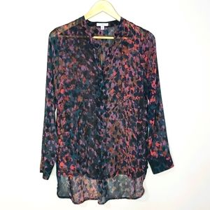 H by Halston Long Sleeve Print Xsmall Blouse Top